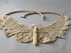 Crochet Necklace Irish Crochet Lace Butterfly by Nothingbutstring