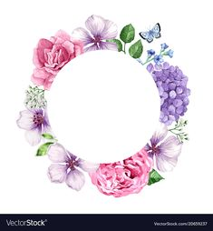 Floral background in watercolor style isolated on vector image on VectorStock Wreath Watercolor, Watercolor Cards, Floral Watercolor, Watercolor Background, Pastell Tattoo, Floral Invitation, Invitations, Happy Birthday Art, Floral Save The Dates