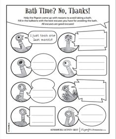 FREE Mo Willems printables: http://www.pigeonpresents.com/teachersguides/pigeon-needs-bath-activity-kit.pdf