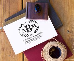 Gorgeous custom calligraphy address stamps via The Paper Paramour in Redmond, WA (I have their round monogram stamp for my correspondence and one of the squared family stamps for bills - love this company!)