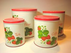 Vintage 1960s Strawberry Canister Set Tin Litho by CeeGeesAttic, $25.00
