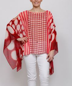 Love this Red Geometric Dot Cape-Sleeve Tunic - Plus on #zulily! #zulilyfinds