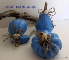 Beach Holiday blue gourds with driftwood by CarmelasCoastalCraft, $10.00