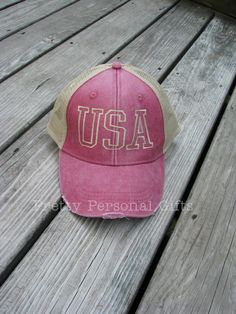 8866f313 USA Trucker Hat - Red - distressed Red USA baseball hat - fast shipping -  12 colors