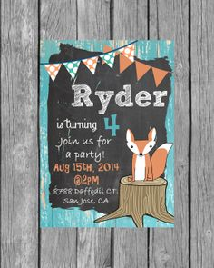 So cute woodland party invitation <3 Digital Boys Woodland Birthday Invitation by BloomberryDesigns, $14.00
