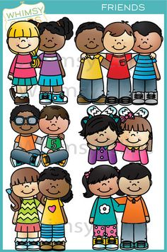 This fun and adorable friends clip art set contains 12 image files, which includes 6 color images and 6 black & white images in png. All images are 300dpi for better scaling and printing.