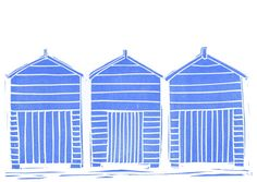 Greeting card with original LINO PRINT .. Day at the Seaside ..