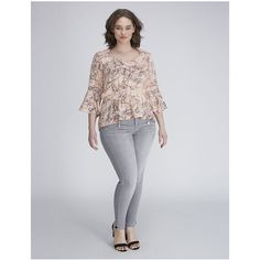 Lane Bryant Plus Size Bell-sleeve peplum top by Melissa McCarthy... ($79) ❤ liked on Polyvore featuring plus size women's fashion, plus size clothing, plus size tops, light pink, plus size, plus size print tops, patterned peplum top, lane bryant, sweetheart top and women's plus size tops