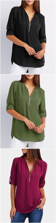 Zip Design V-neck Long Sleeves T-shirt - How To Be Trendy Sewing Shirts, Sewing Clothes, Dress Outfits, Fashion Outfits, Womens Fashion, Fashion Blouses, Fashion Ideas, Dresses, Pretty Outfits