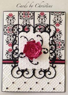 Card made using Cricut cartridges Ornamental Iron 2, Wall Decor & More, & Flower Shoppe