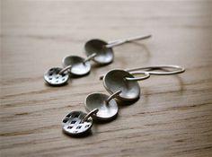 Delicate Dangle Silver Earrings Moneditas Earrings by PepaMoyano, $40.00
