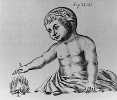 c.1662 Descartes illustration of automatic reaction to pain stimulous