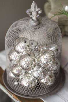 Our Christmas Living Room Pt 2 . Christmas Décor . Wire Cloche . Silver Baubles . honeycombcreativeco.blogspot.com