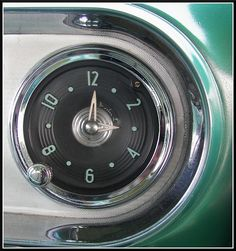 Retro Dash Clock From Chevy. My Dream Car, Dream Cars, Automobile, Shades Of Turquoise, Teal Blue, Chevy Girl, Streamline Moderne, Classy Cars, Antique Clocks