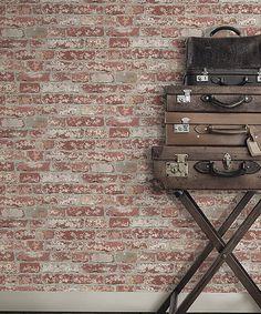 Love this Stuccoed Dark Red Brick Peel & Stick Wall Décor on #zulily! #zulilyfinds