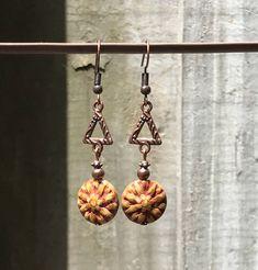 Brown Copper Earrings, Boho Jewelry, Bohemian Jewelry, Boho Earrings, Bohemian Earrings, Rustic Earrings, Statement Earrings, for her by KesaliSkye on Etsy