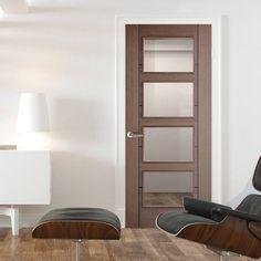 Vancouver Chocolate Grey 4L Internal Door with Clear Safety Glass. #glassdoor #internaldoor #moderndoor