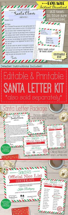 Dear santa letter writing kit and printable dear santa santa instantly download edit and print your child a letter from santa it is not spiritdancerdesigns Image collections