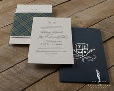 Custom designed invitation set featuring tartan plaid (bride's tartan) and monogram styling in silver foil on navy stock.