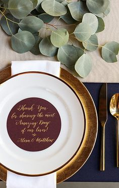 We love the look of a clean, modern table setting pair with gold touches for a fall wedding | Explore The 2016 Fall Wedding Lookbook