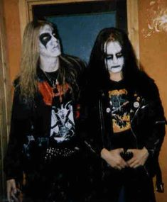Dead (L) and Euronymous (R) from Norwegian black metal band Mayhem. Dead committed suicide and Varg Vikernes of Burzum who was also briefly in Mayhem killed Euronymous.