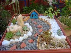 Indoor Fairy Gardens, Fairy Garden Plants, Fairy Garden Houses, Garden Boxes, Fairy House Crafts, Garden Crafts, Succulent Gardening, Succulents Garden, Miniature Zen Garden