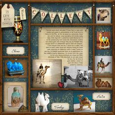 Dimensional layering layout by Amson - using Ztampf! Collect Kit.    *** #ztampf #digitalscarpbooking #scrapbooking #travel #mementoes #memories #collection #merrybanner #alphaset #woodenbox #printersbox