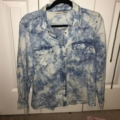 """Acid Washed"" Button Down That cute ""acid washed"" style that will always be trending! Mudd Tops Button Down Shirts"