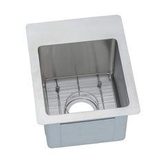 "Elkay ECTSR13169BG Crosstown 16"" x 13"" Single Basin Undermount or Drop In Stainl No Faucet Holes Fixture Kitchen Sink Stainless Steel"