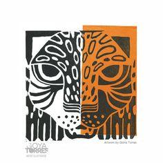 "#ElementEdenArtSearch ""Dime Jaguar"", lino print on paper."