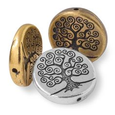 Pewter Tree of Life Puffed Coin Bead by TierraCast - 13mm | Fusion Beads