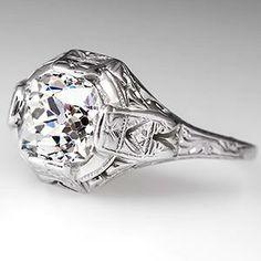 Antique 1.7 Carat Old Mine Diamond Engagement Ring 18K White Gold 1930's