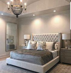 Glamorous grey bedroom Small Master Bedroom, Master Bedroom Design, Dream Bedroom, Home Bedroom, Master Suite, Bedroom Designs, Bedroom Mirrors, Fancy Bedroom, Bedroom Ideas Master For Couples
