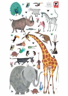 """Fiep Westendorp Wallstickers """"Animals"""" (XXL) - Fiep Westendorp Webshop"""