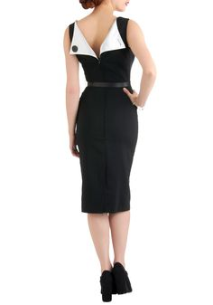 Folded Fatale Dress by Bettie Page - Long, Black, White, Solid, Buttons, Work, Sheath / Shift, Sleeveless, Belted, Party, Vintage Inspired, 40s, Pinup