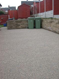 Concrete patio bin storage area resin bonded by Drive-Cote Ltd Driveway Ideas, Driveway Design, Bin Storage, Storage Area, Concrete Patio, Cement, Resin Bond, Garden Seating, Driveways