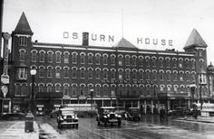 The Osburn House on South Avenue at Broad Street.   The building was torn down to extend Broad Street.  The cars shown are heading west, over the Broad Street Bridge.