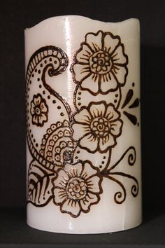 LED henna candle Design 3 by JSHennaCreations on Etsy Cool Henna Designs, Henna Tattoo Designs, Beautiful Flower Drawings, Henna Candles, Candlemaking, Candle Magic, Islamic Gifts, Henna Patterns, Tea Light Candles