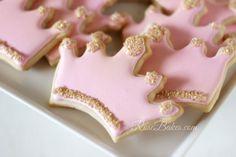 Pink and Gold Princess Cookies #crown #tiara