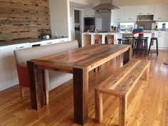 Dining Room Designs: Gorgeous Reclaimed Wood Dining Table Design For Our Dining Room, Amazing Reclaimed Wood Dining Table Design, barn wood dining room table, Kitchen Table Bench, Dining Table With Bench, Dining Room Table, Dining Rooms, Patio Table, Kitchen Dining, Dining Chairs, Wood Table Design, Dining Table Design