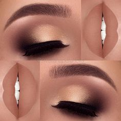 After applying an eyeliner and an eye shadow, make sure they are highlighted with a mascara or artificial lashes. Artificial lashes can be permanent (lasting almost a month) or one time lashes. 31 Pictures of Eyeliner and Eye Shadow Makeup Ideas Cute Makeup, Prom Makeup, Gorgeous Makeup, Pretty Makeup, Wedding Makeup, Hair Makeup, Makeup 2018, Gold Makeup, Amazing Makeup