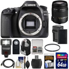 Canon EOS 80D Wi-Fi Digital SLR Camera Body with Sigma 18-250mm OS Lens + 64GB Card + Battery & Charger + Backpack + Flash + Kit. KIT INCLUDES 14 PRODUCTS -- All BRAND NEW Items with all Manufacturer-supplied Accessories + Full USA Warranties:. [1] Canon EOS 80D Wi-Fi Digital SLR Camera Body + [2] Sigma 18-250mm DC Macro Lens + [3] Transcend 64GB SDXC 300x Card +. [4] Spare LP-E6N Battery + [5] Battery Charger for LP-E6 + [6] Vivitar 62mm UV Glass Filter +. [7] Precision Design DSLR300…