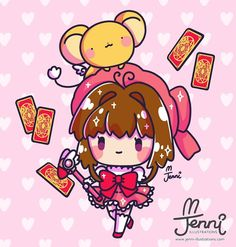 My fave magical girl.Sakura (*^w^*) . Cute Kawaii Drawings, Kawaii Doodles, Kawaii Chibi, Cute Animal Drawings, Kawaii Art, Anime Chibi, Kawaii Anime, Manga, Chinese Cartoon