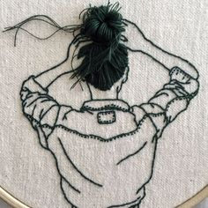 """Beautiful Embroidery Art That """"Leaps Off The Page"""" By Sheena Liam Embroidery Artist Hand-Sews Graceful Hairstyles That """"Leap Off The Page"""" Hand Embroidery Stitches, Embroidery Jewelry, Embroidery Hoop Art, Hand Embroidery Designs, Embroidery Patterns, Embroidery Fashion, Sewing Art, Sewing Crafts, Sewing Tips"""