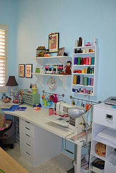 neat sewing area (in an otherwise overwhelming/crowded craft room)