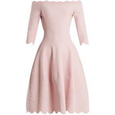 Alexander McQueen Off-the-shoulder matelassé dress ($2,275) ❤ liked on Polyvore featuring dresses, light pink, floral print dress, floral skater skirts, pink off the shoulder dress, pink floral dress and rose print dress