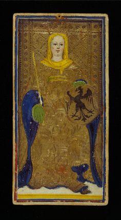 The Empress | Bonifacio Bembo for Visconti-Sforza Family | Medieval Tarot Cards | ca. 1450 | card no. 2 | The Morgan Library & Museum