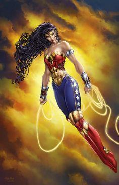 ( Wonder Woman 2012 colored sunset ) by Artists: Brett Booth (Penciller) , Ula Mos (Colorist) Dc Heroes, Comic Book Heroes, Comic Books, Jim Lee, Brett Booth, Hq Dc, Arte Dc Comics, Superman Wonder Woman, Female Stars