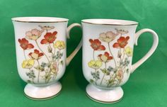 Fanci Florals Collection PAINTED POPPY Vintage Porcelain Coffee Mugs Lot Of 2 #FanciFloralsCollection