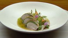 This tender Roast Chicken is paired with Summer Vegetables and a Consommé of Green Herbs to create a deliciously satisfying dish. MasterChef Australia, Season 10, Episode 19. Chicken, Carrot, Mushroom